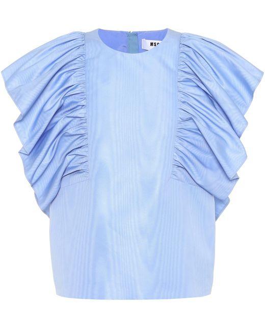MSGM Blusa sin mangas de mujer de color azul zm3mA