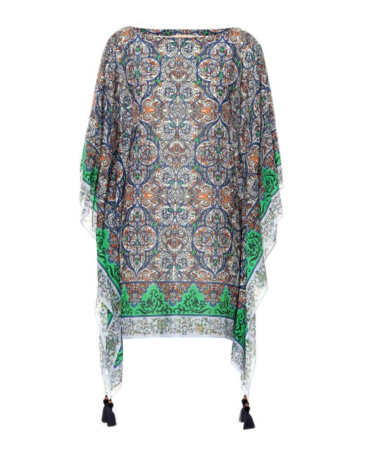 Tory Burch Multicolor Printed Cotton And Silk Kaftan