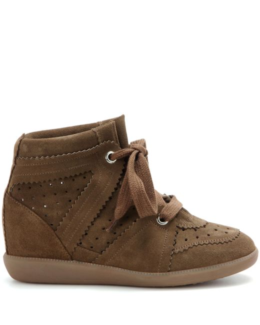 8bf3dccc37d ... Isabel Marant - Brown Bobby Suede Wedge Sneakers - Lyst ...