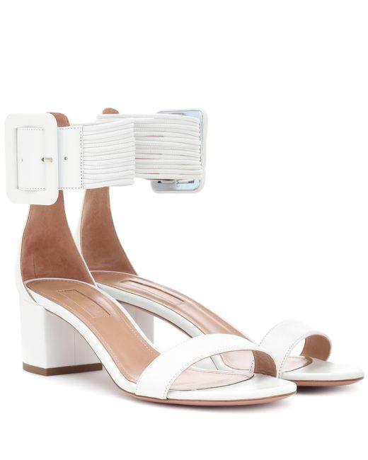 Aquazzura - White Casablanca 50 Leather Sandals - Lyst