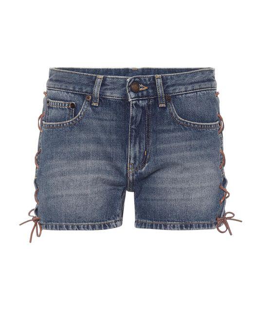 Saint Laurent Blue Jeansshorts mit Schnürdetails