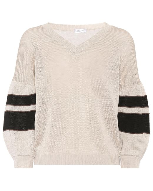 Brunello Cucinelli - Natural Embellished Cotton Sweater - Lyst