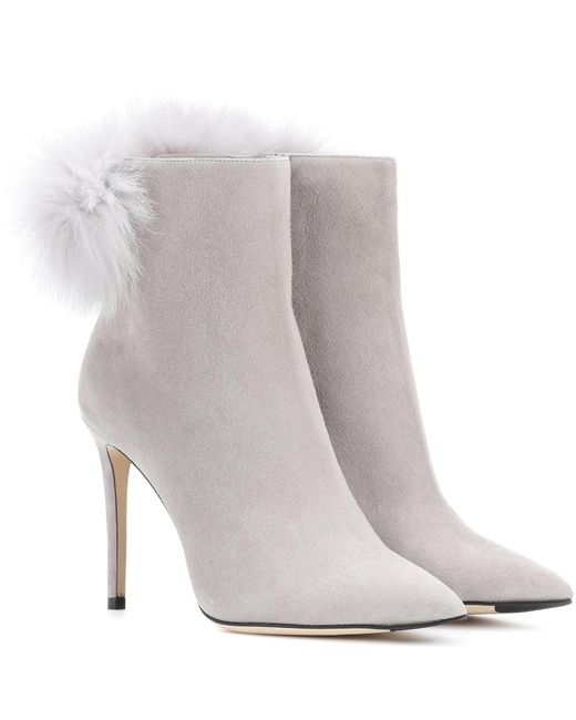 Jimmy Choo - Gray Tesler 100 Suede Ankle Boots - Lyst