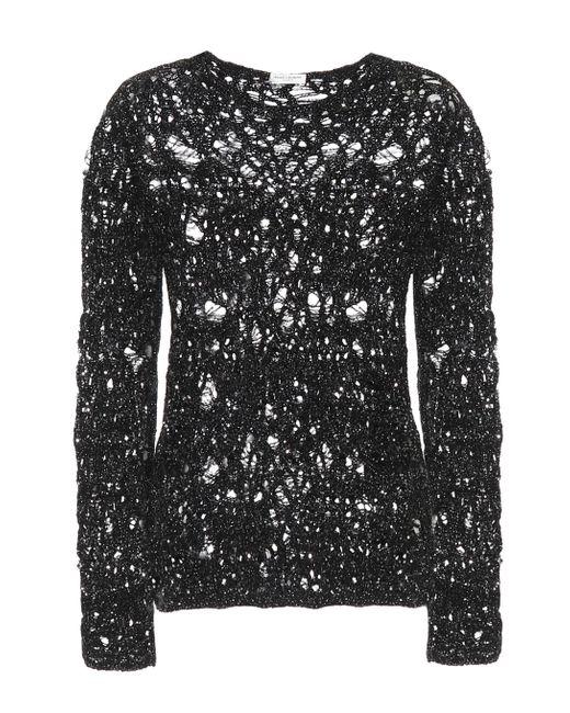 Pullover in misto lana e lamé di Saint Laurent in Black
