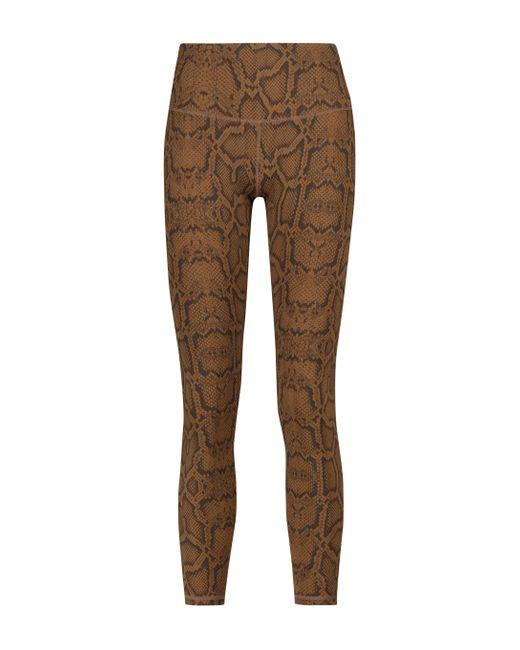 Varley Brown Luna Snake-print leggings