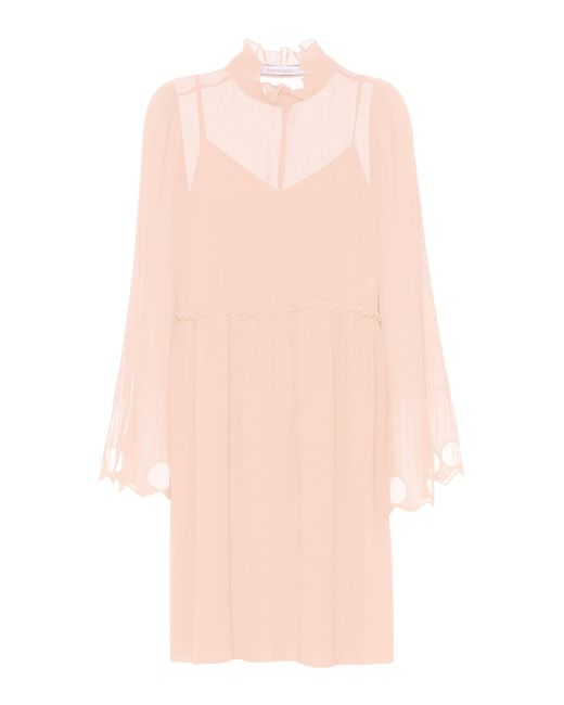 See By Chloé Pink Ruffled Georgette Dress
