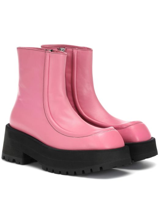 Marni Pink Leather Ankle Boots