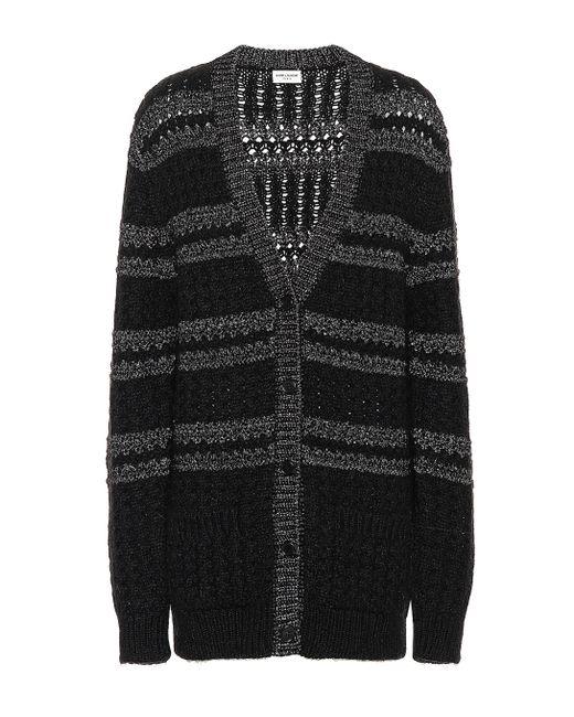2b7afa2696656 Saint Laurent - Black Metallic-knit Striped Cardigan - Lyst ...