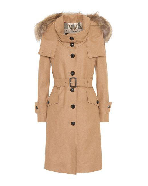 Burberry - Brown Wool-blend Coat - Lyst