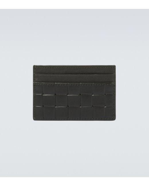 Bottega Veneta Black Printed Grid Leather Cardholder for men