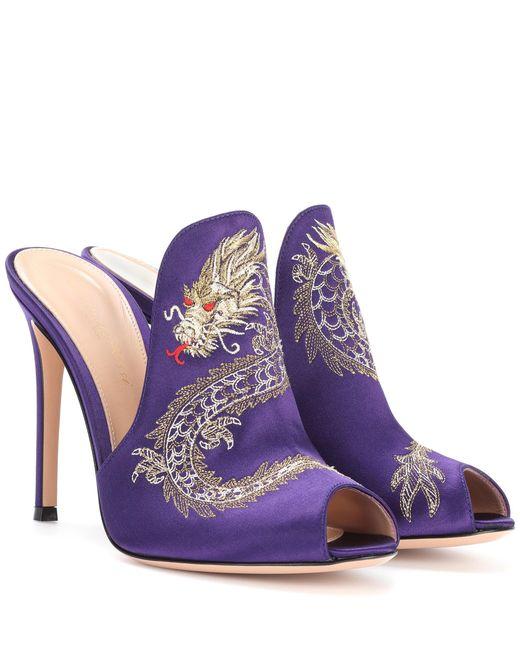 Gianvito Rossi Purple Dragon Embroidered Satin Mules
