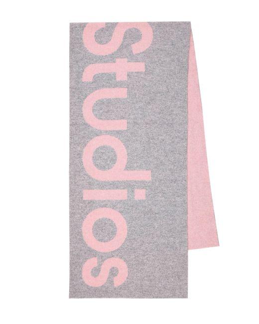 Sciarpa in misto lana con logo di Acne in Pink