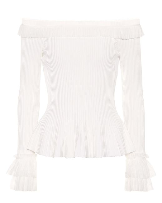Jonathan Simkhai - White Ruffled Off-the-shoulder Top - Lyst