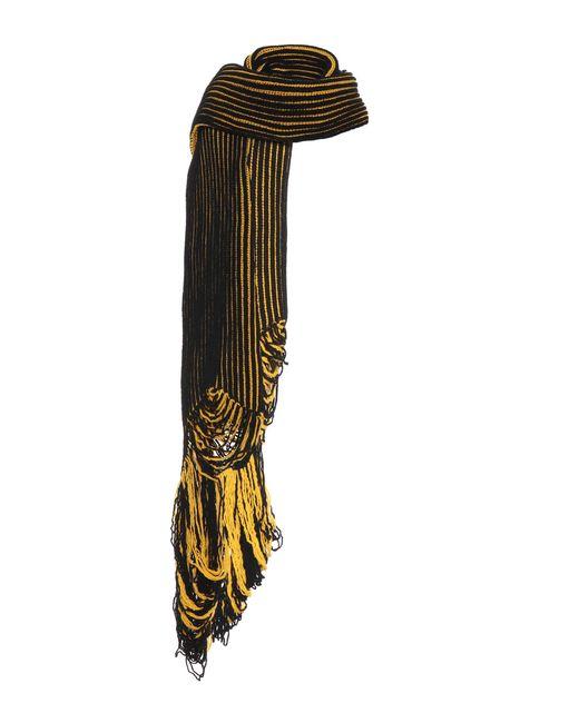 Balenciaga - Yellow Striped Wool Scarf - Lyst