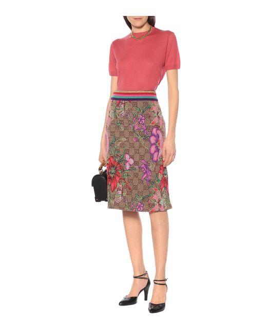 Jupe GG Flora en jacquard de laine mélangée Gucci en coloris Brown