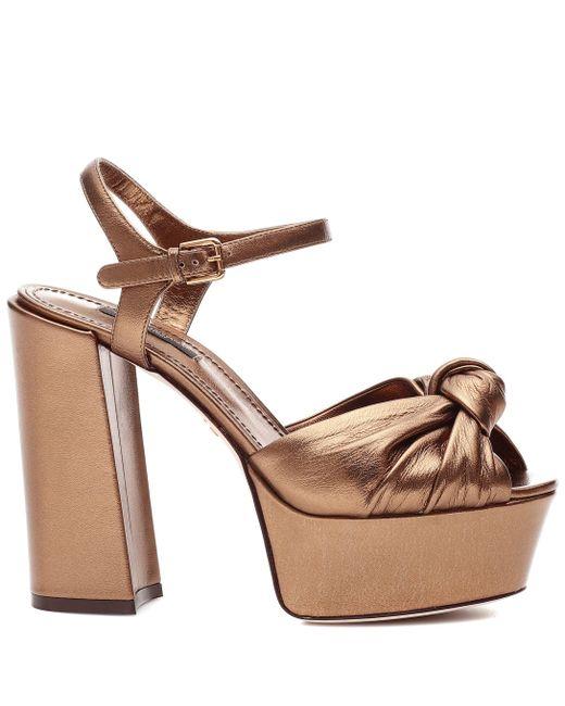 hot sale online 4c56d 44895 Women's Brown Metallic Leather Plateau Pumps
