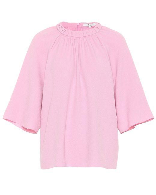 Tibi Top Mica de crepé de mujer de color rosa HS54t