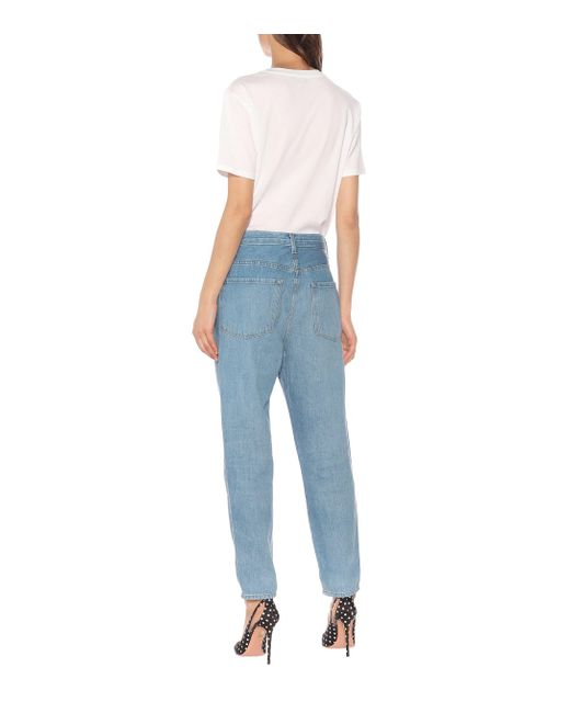 J Brand Blue High-Rise Straight Jeans Heather