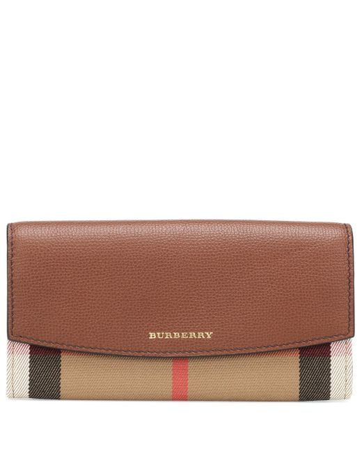Burberry Brown House Check And Leather Wallet