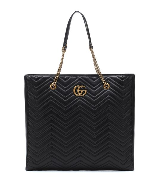 Gucci - Black Gg Marmont Large Leather Tote - Lyst