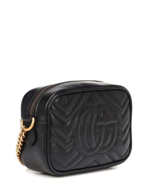 Sac à épaule petite taille à motif GG Marmont matelassé Gucci en coloris Black