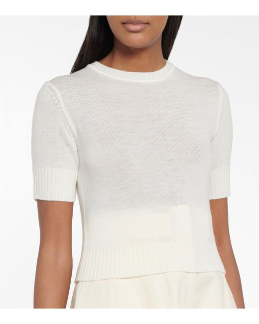 Jil Sander White Cropped-Pullover aus Wolle