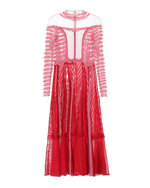 Valentino - Red Lace-paneled Dress - Lyst