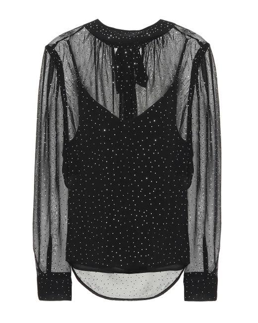 Veronica Beard Top Melling de seda de lunares de mujer de color negro