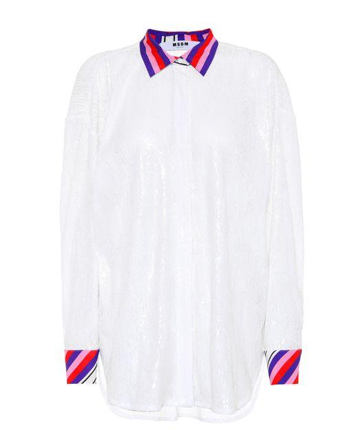 MSGM Camisa extragrande con lentejuelas de mujer de color blanco pa1QX
