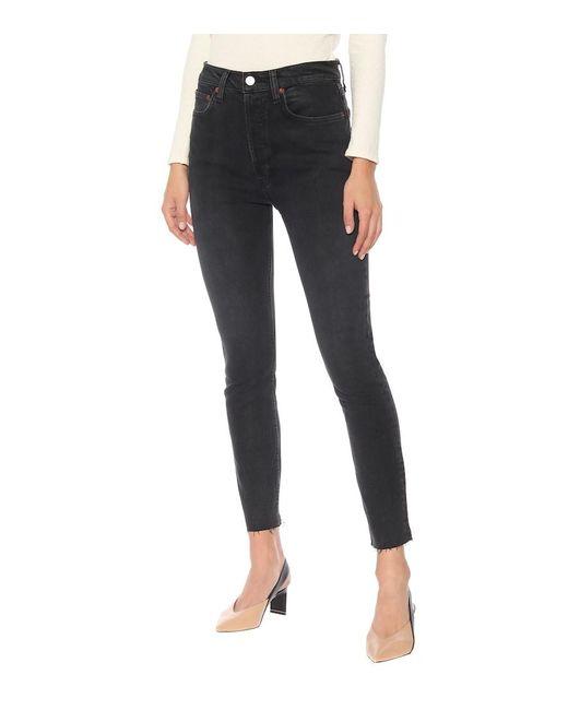 Jeans skinny a vita alta di Re/done in Black