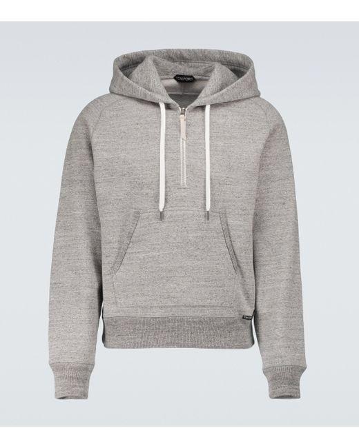 Tom Ford Gray Fleck Mélange Hooded Sweatshirt for men