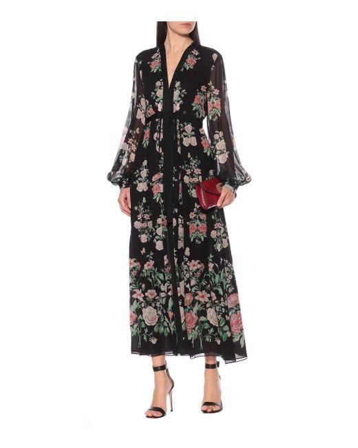 Giambattista Valli Black Bedruckte Robe aus Seide