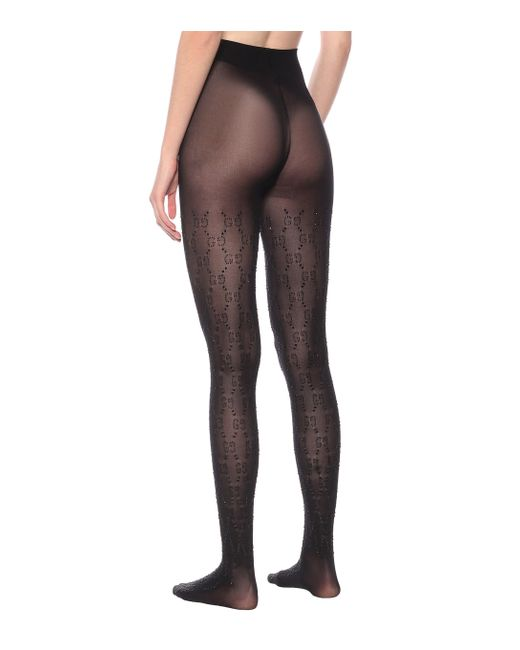 Gucci Black Embellished GG Tights