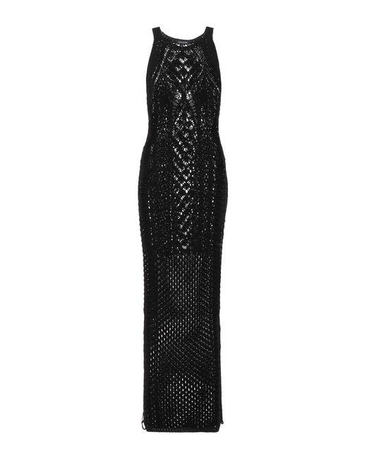 Balmain - Black Crocheted Cotton Maxi Dress - Lyst