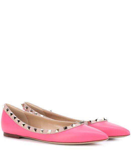 Valentino   Pink Garavani Rockstud Leather Ballerinas   Lyst