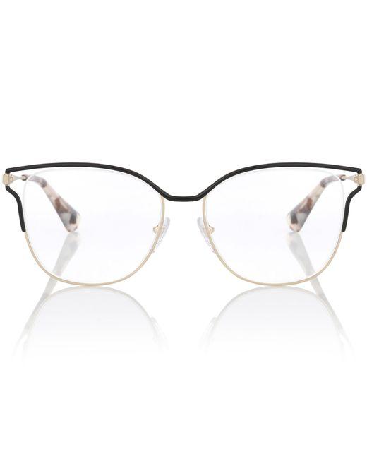 Prada - Metallic Metal Square Glasses - Lyst