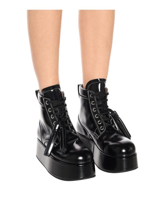 Marni Black Patent Leather Platform Ankle Boots