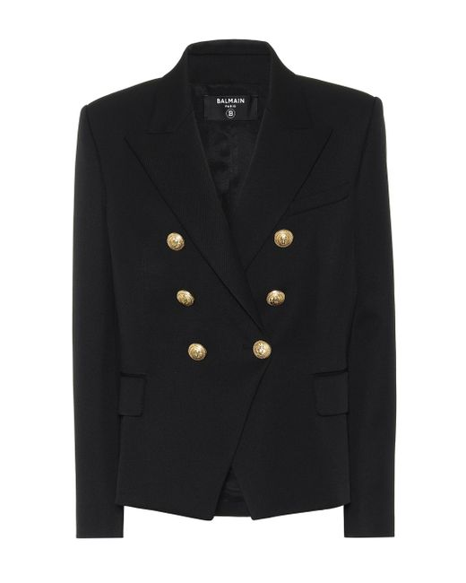 Women's Black Double-breasted Wool Blazer