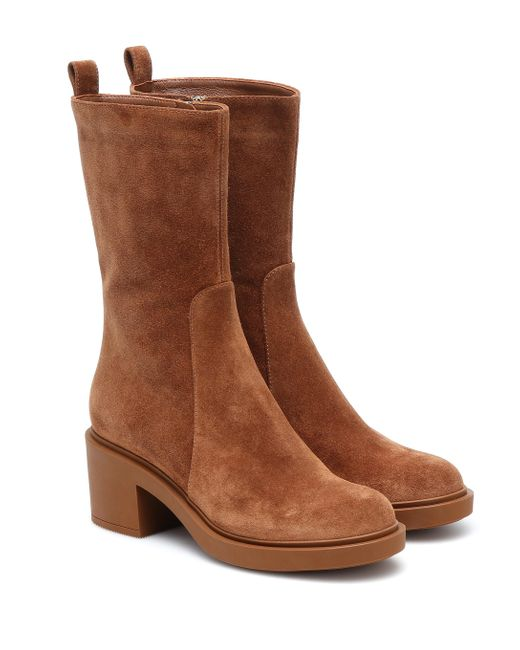 Gianvito Rossi Brown Ankle Boots aus Veloursleder