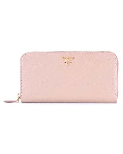 c9ce9545e6b1 ... australia prada pink saffiano leather zip around wallet lyst c1bdd 9d13a