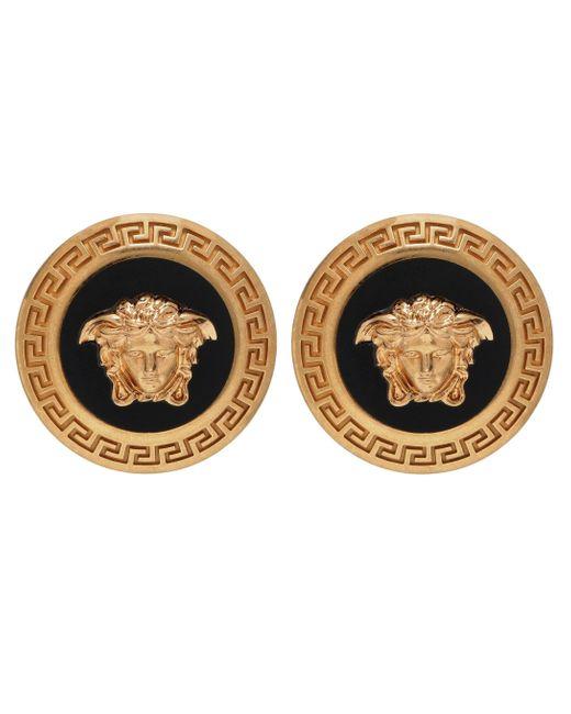Versace Metallic Logo Earrings