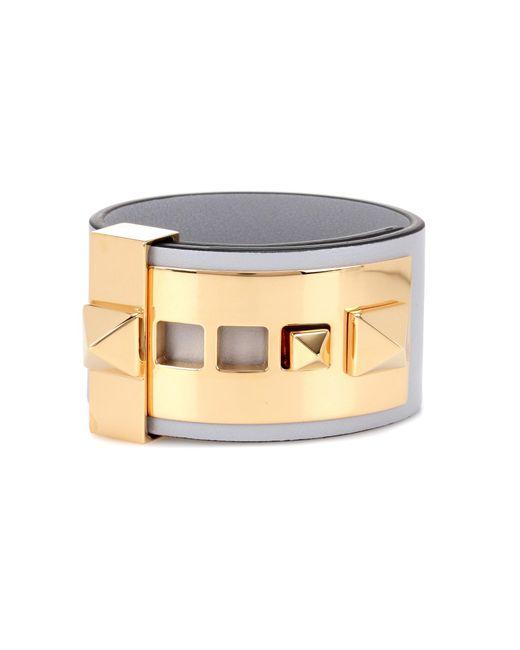 Valentino | Gray Garavani Rockstud Leather Bracelet | Lyst