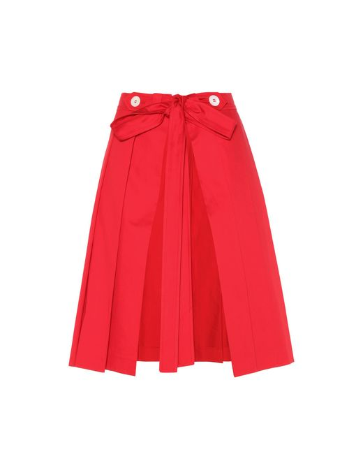 Miu Miu - Red Pleated Cotton Skirt - Lyst