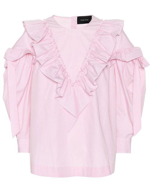 Simone Rocha - Pink Ruffled Cotton Blouse - Lyst