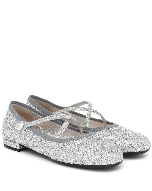 Miu Miu Metallic Ballerinas mit Glitter