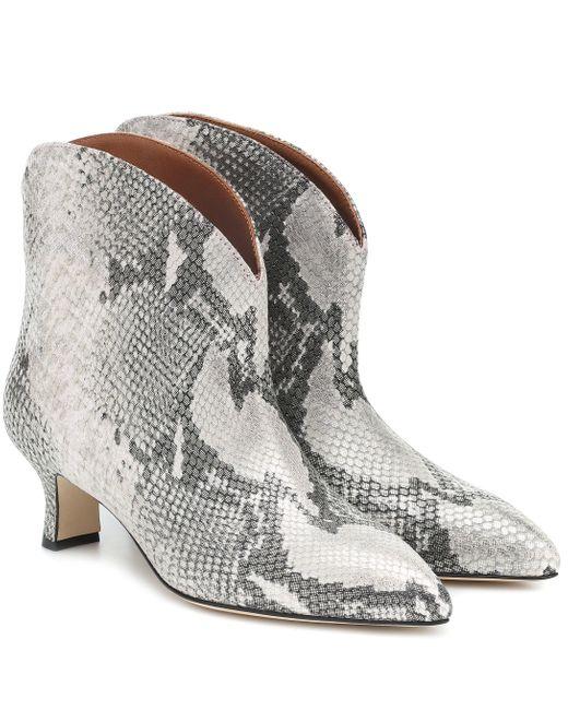 Paris Texas Gray Ankle Boots aus geprägtem Leder
