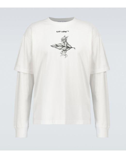 Off-White c/o Virgil Abloh White T-Shirt Shadows aus Baumwolle