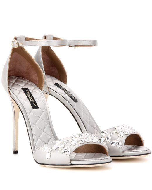 Dolce & Gabbana - Gray Keira Embellished Satin Sandals - Lyst
