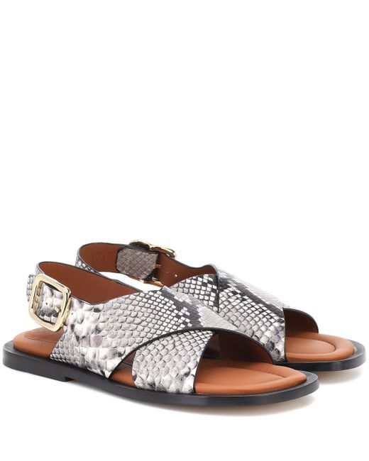 Joseph Gray Snake-effect Leather Sandals
