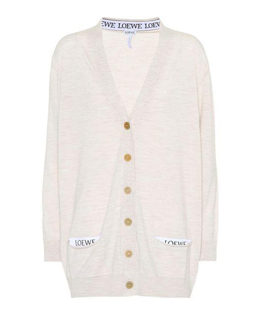 Loewe - Natural Wool Cardigan - Lyst